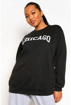 Black Plus Chicago Oversized Sweatshirt