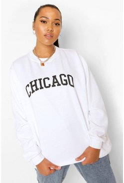 Grey marl grey Plus Chicago Oversized Sweatshirt