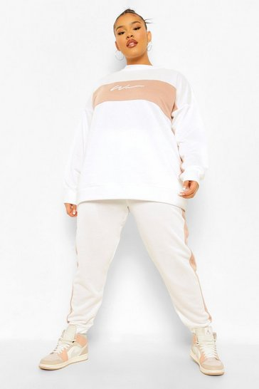 Ivory white Plus Woman Colour Block Sweat Tracksuit