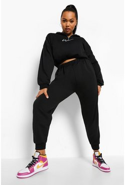 Black Plus Woman Cropped Half Zip Sweat Tracksuit