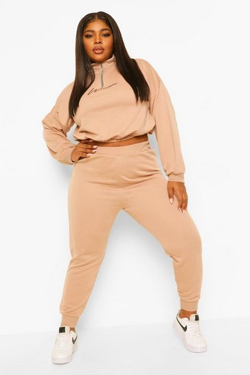 Stone beige Plus Woman Cropped Half Zip Sweat Tracksuit