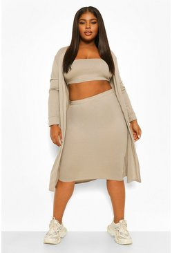Grey Plus 3-Delige Bandeau En Midi Rok Set
