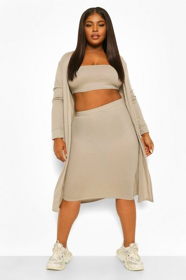 Grey Plus 3 Piece Bandeau Midi Skirt Co-ord
