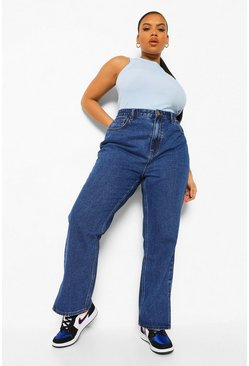 Mid blue blue Plus Split Hem Straight Leg Jean