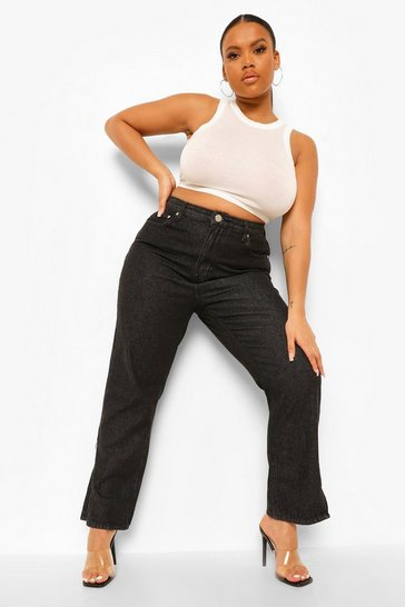 Washed black Plus Split Hem Straight Leg Jean