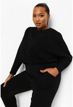 Black Plus Loopback Batwing Toggle Detail Jumper