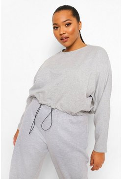 Grey marl grey Plus Loopback Batwing Toggle Detail Sweater