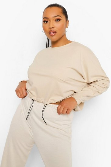 Stone beige Plus Loopback Batwing Toggle Detail Jumper