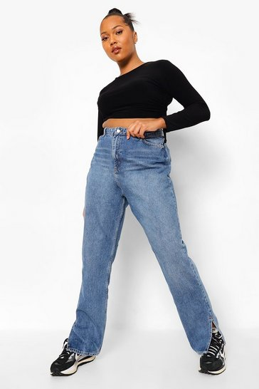 Vintage blue blue Plus Side Split Hem Jean
