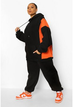 Black Plus Side Colour Block Oversized Hoody
