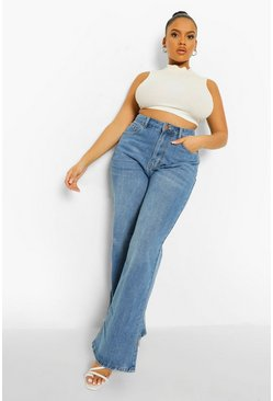 Mid blue blue Plus Basic Stretch Wide Leg Jeans