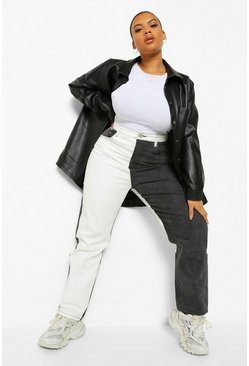 Black Plus Colour Block High Raise Straight Leg Jean