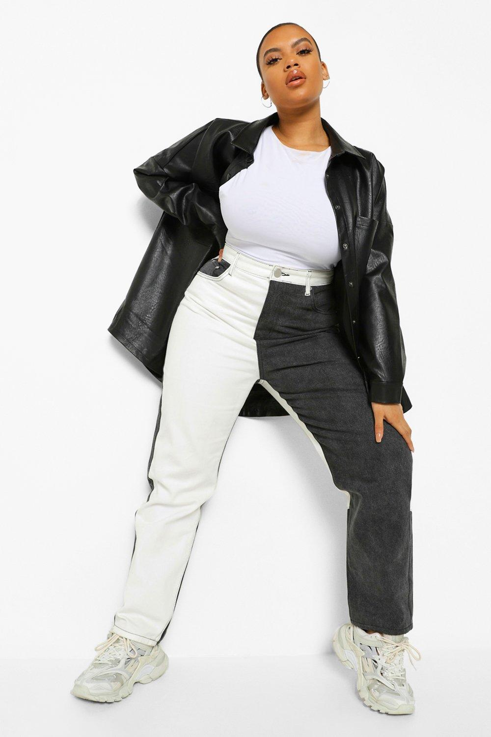 Plus Colour Block High Raise Straight Leg Jean 14