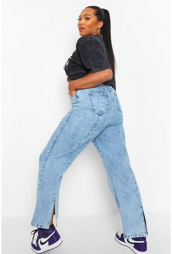 Mid blue blue Plus Acid Wash Split Hem Straight Leg  Jean