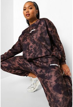 Black Plus Acid Wash Woman Hooded Tracksuit