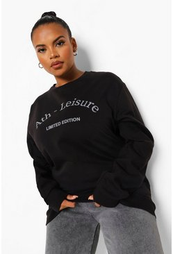 Black Plus Athleisure Printed Sweatshirt