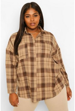 Chocolate Plus Check Oversized Boyfriend Shirt