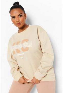 Stone beige Plus Missouri Printed Sweatshirt