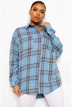 Baby blue blue Plus Check Oversized Boyfriend Shirt