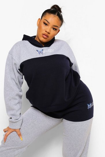 Grey Plus Woman Colour Block Hoody Tracksuit