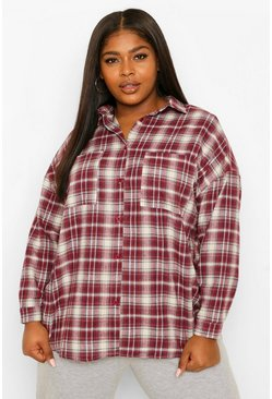 Mauve Plus Check Oversized Boyfriend Shirt