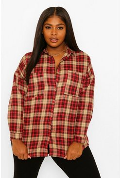 Berry red Plus Check Oversized Boyfriend Shirt