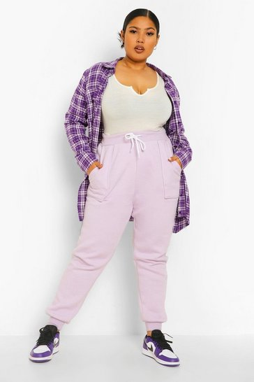 Lilac purple Plus Mix And Match Pocket Detail Jogger