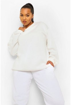 Ecru white Plus Basic Mix And Match Oversized Sweat