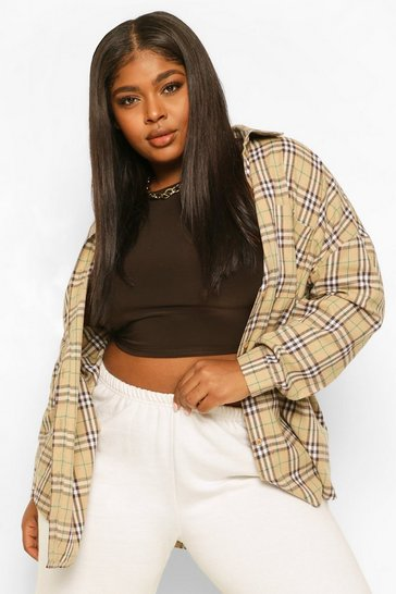 Beige Plus Check Oversized Boyfriend Shirt