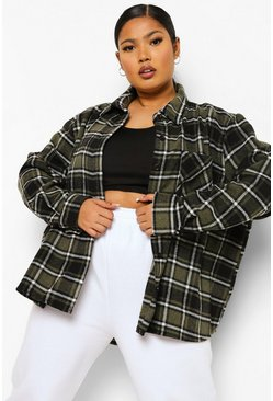 Khaki Plus Check Oversized Boyfriend Shirt