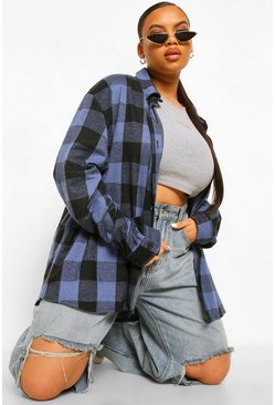 Cobalt blue Plus Check Oversized Boyfriend Shirt
