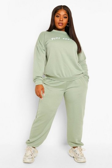 Sage green Plus Pure Angels Oversized Tracksuit