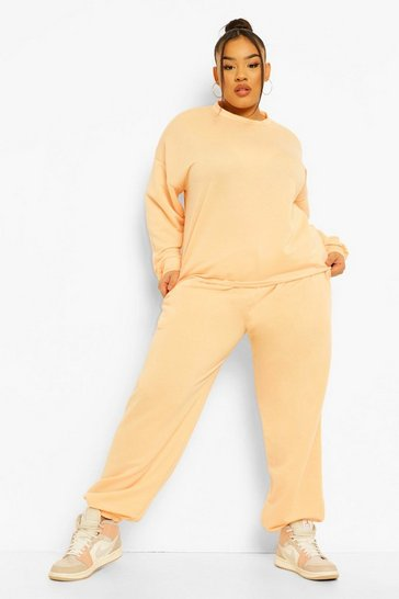Peach orange Plus Pastel Oversized Tracksuit