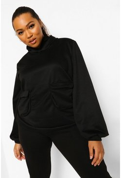 Black Plus Pocket Front Hoodie