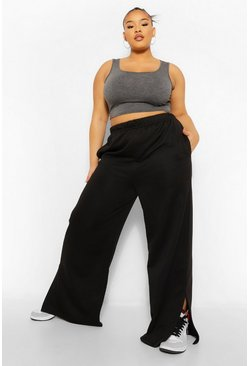 Black Plus Split Hem Wide Leg Jogger