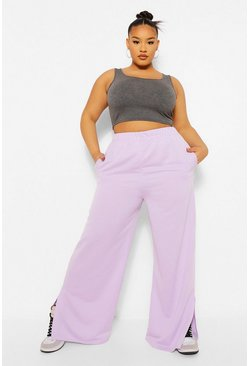 Lilac purple Plus Split Hem Wide Leg Jogger