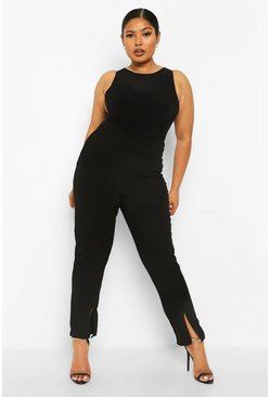 Black Plus Split Front Hem Trousers