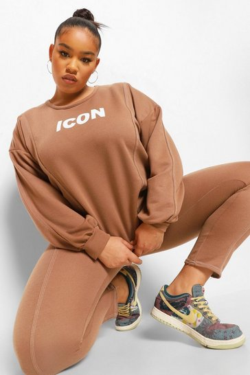 Mocha beige Plus Icon Exposed Seam Tracksuit