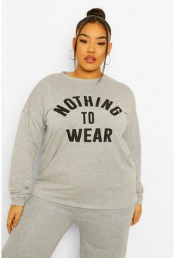 "Plus Pullover in Übergröße mit Slogan ""Nothing To Wear"" , Grau"