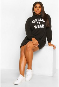 Black Plus Nothing To Wear Hooded Sweat Dress