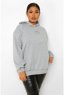 Grey Plus Embroidered Athleisure Oversized Hoodie