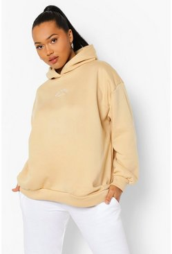 Stone beige Plus Embroidered Athleisure Oversized Hoodie