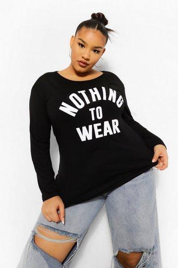 Black Plus Nothing To Wear Long Sleeve T-Shirt