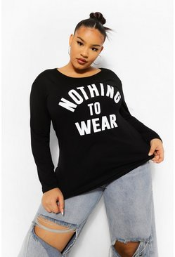 "T-shirt a maniche lunghe con scritta ""Nothing To Wear"" Plus , Nero"