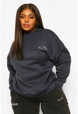 Navy Plus Embroidered Athleisure Sweat
