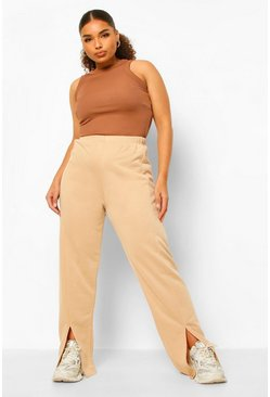 Pantaloni tuta Plus con spacco all'orlo, Pietra beige