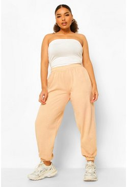 Camel beige Plus Acid Wash Gebleekte Joggingbroek