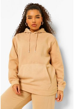 Plus Hoodie im Acid-Wash-Look, Kamelhaarfarben beige