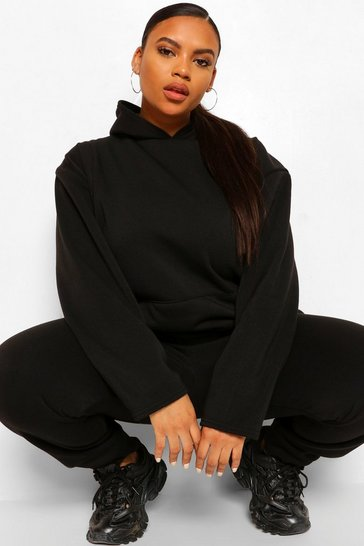 Black Plus Fleece Loopback Hoodie And Jogger