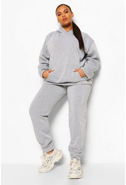 Grey grå Plus - Hoodie och joggers i fleece